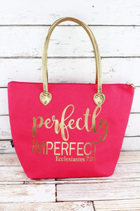 "Metallic Gold 'Perfectly Imperfect""  Coral Pink Shoulder Tote"