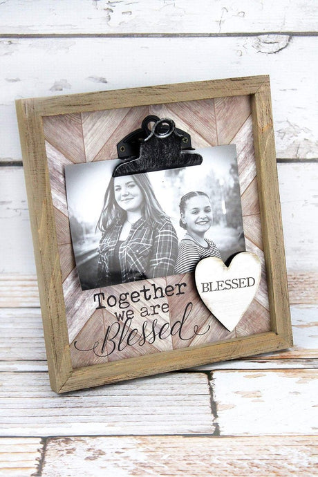 'Together we are Blessed' Framed Wood 4X6 Photo Display