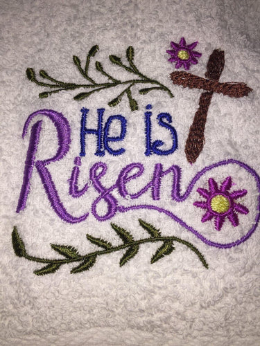 He is Risen! Embroidered White Bathroom Fingertip Towel