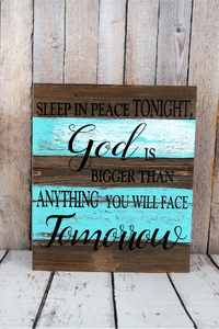 Two-color 'God is Bigger' Wood Sign