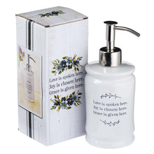 Load image into Gallery viewer, Love Joy Grace Ceramic Soap Dispenser in White