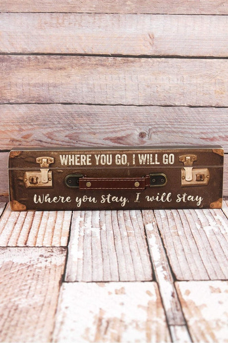 'I Will Go' Suitcase Travel Sign
