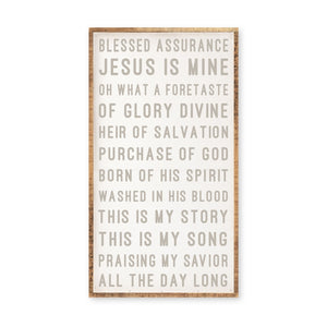 Blessed Assurance Large Wood Framed Hymn Sign