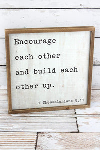 "12"" x 12"" ""Encourage Each Other"" Wood Wall Art"