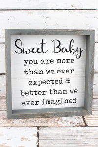 "10' x 10"" Sweet Baby Framed Wall Sign"