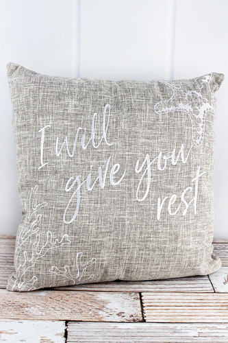 I will Give You Rest Tan Throw Pillow 17