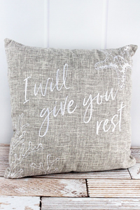 """I will Give You Rest"" Tan Throw Pillow 17"" x 17"""