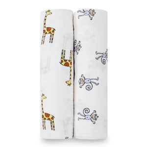 aden + anais jungle jam - monkey/giraffe 2-pk muslin swaddle