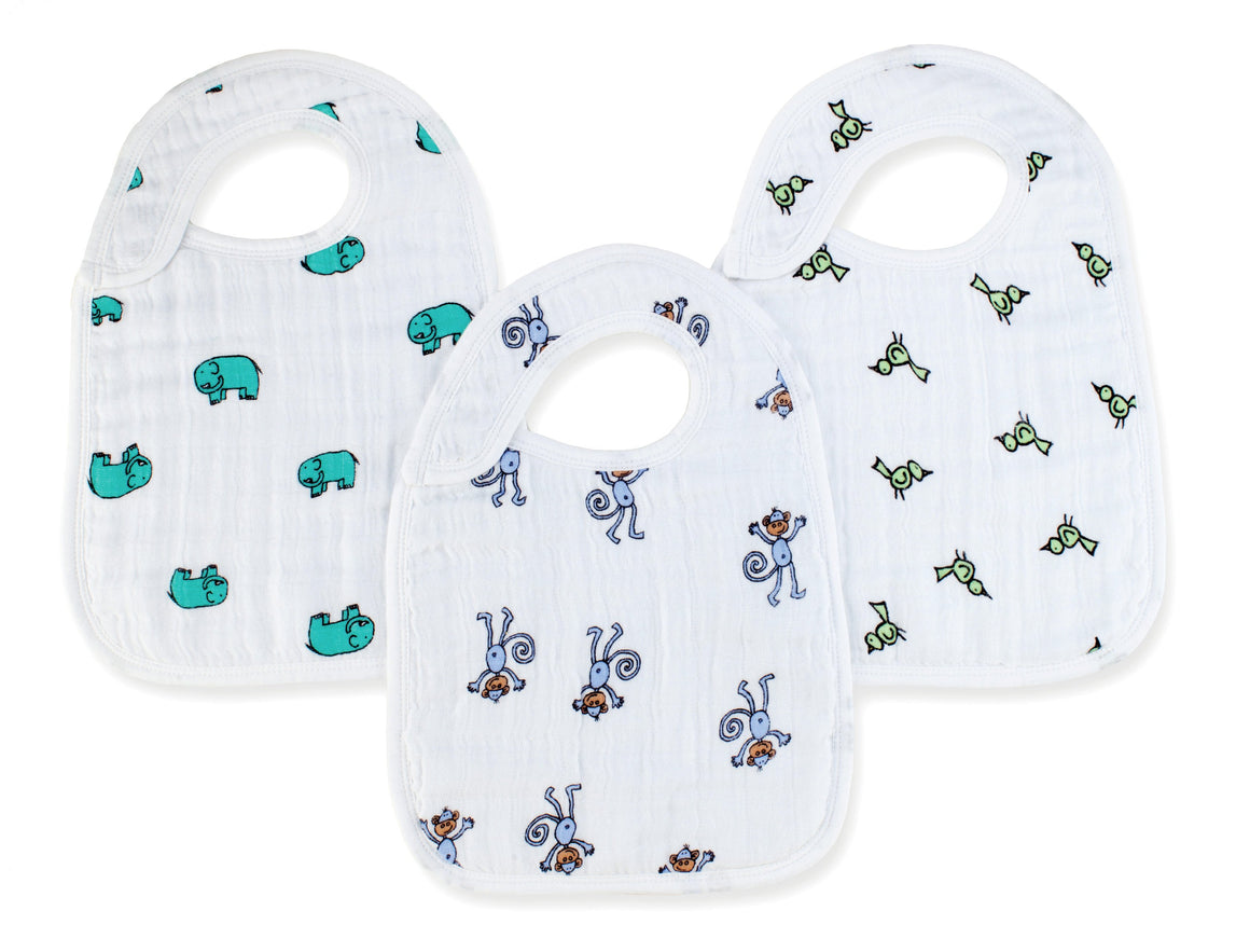 aden + anais jungle jam classic muslin snap bibs 3-pack