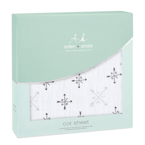 aden + anais lovestruck - love classic muslin fitted cot sheet single