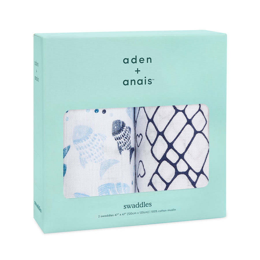 aden + anais gone fishing 2-pack muslin swaddles