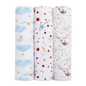 aden + anais Harry Potter 3pk foil swaddles