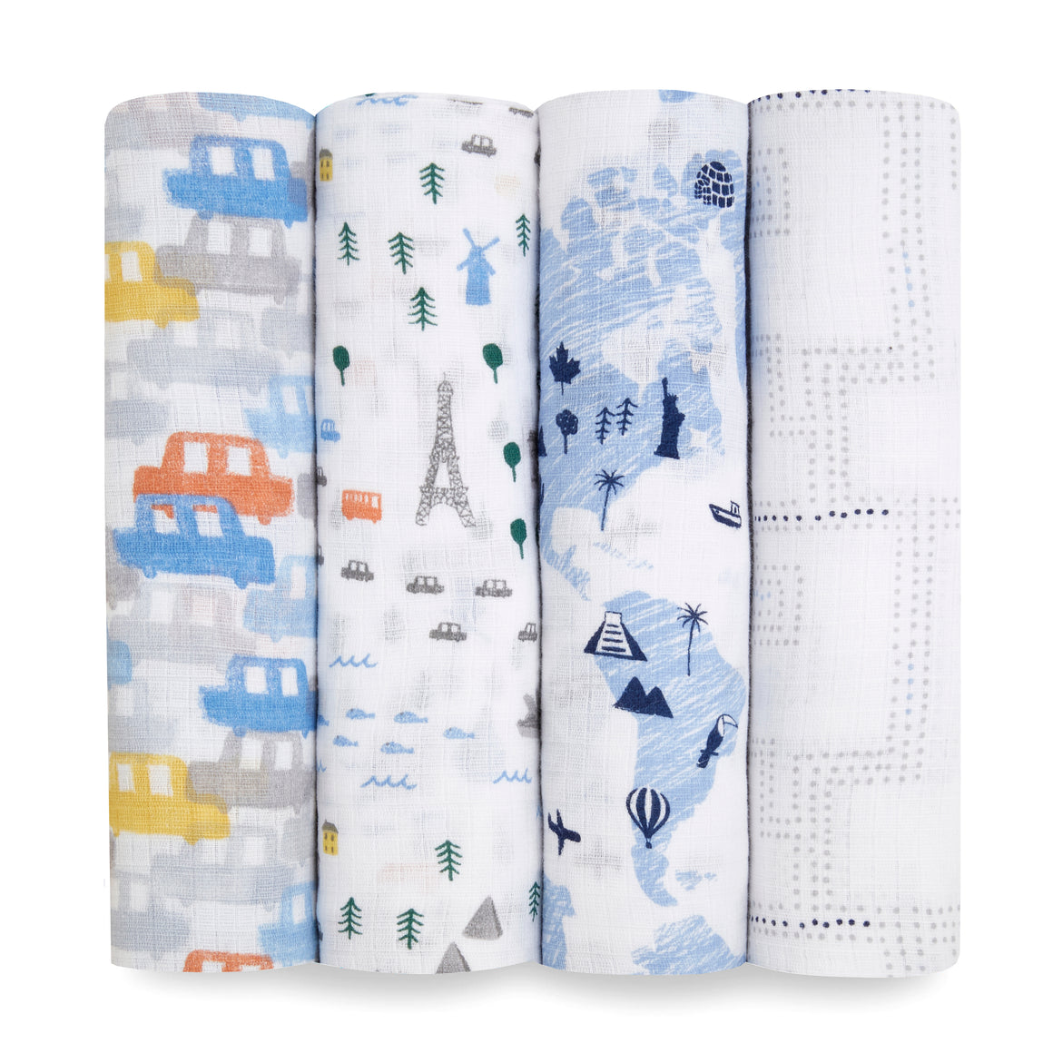 aden + anais essentials Little Big World 4pk swaddles