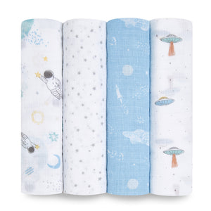aden + anais essentials space explorers 4-pack swaddles