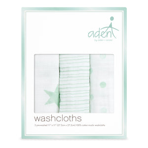 aden by aden + anais: dream soft muslin washcloths 3-pack