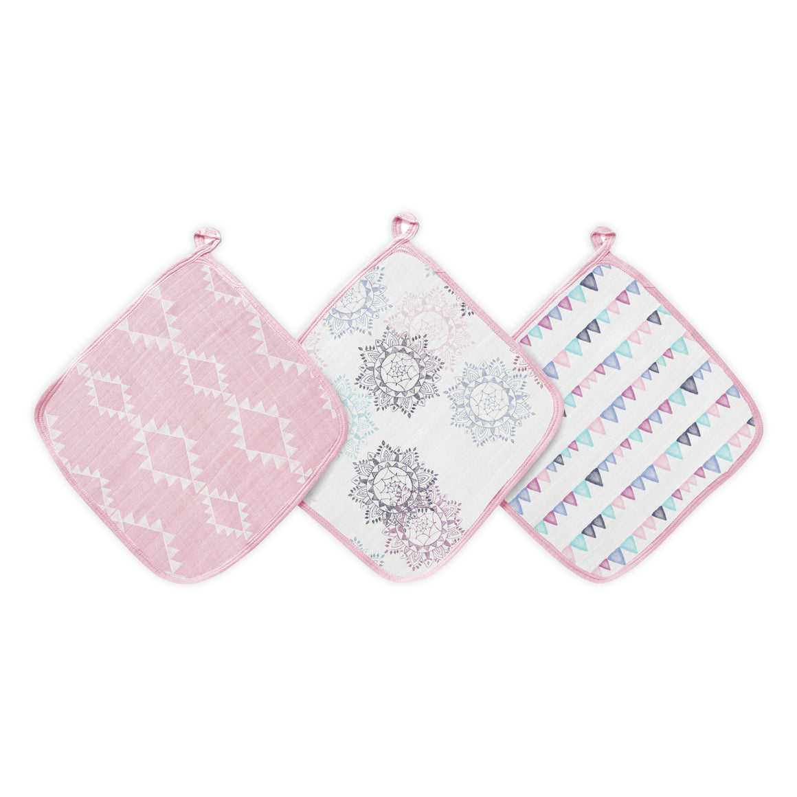 aden by aden + anais: pretty pink: soft muslin washcloths