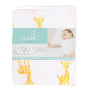 aden by aden + anais: safari babes muslin fitted cot sheet (giraffe or elephant)