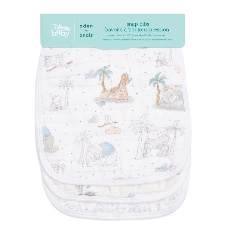 aden + anais My Darling Dumbo 3-pack classic snap bibs