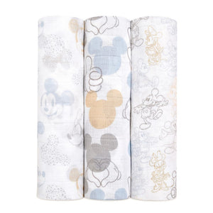 aden + anais Disney Mickey + Minnie 3pk swaddles