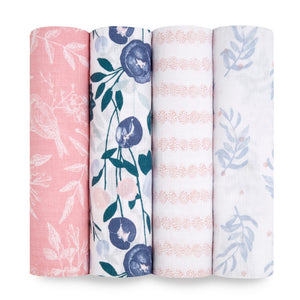 aden + anais essentials Flowers Bloom 4pk swaddles