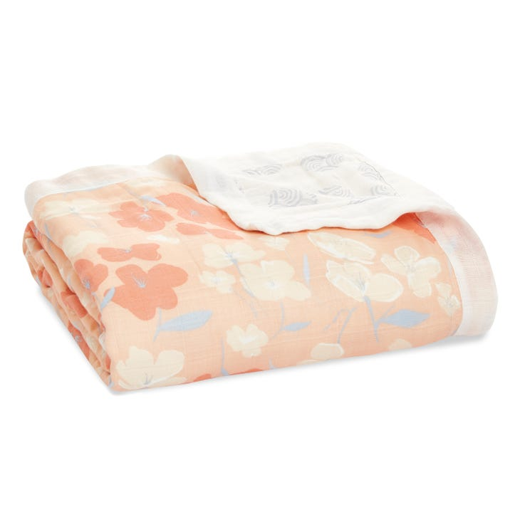 aden + anais Koi Pond Cherry Blossoms silky soft bamboo muslin dream blanket