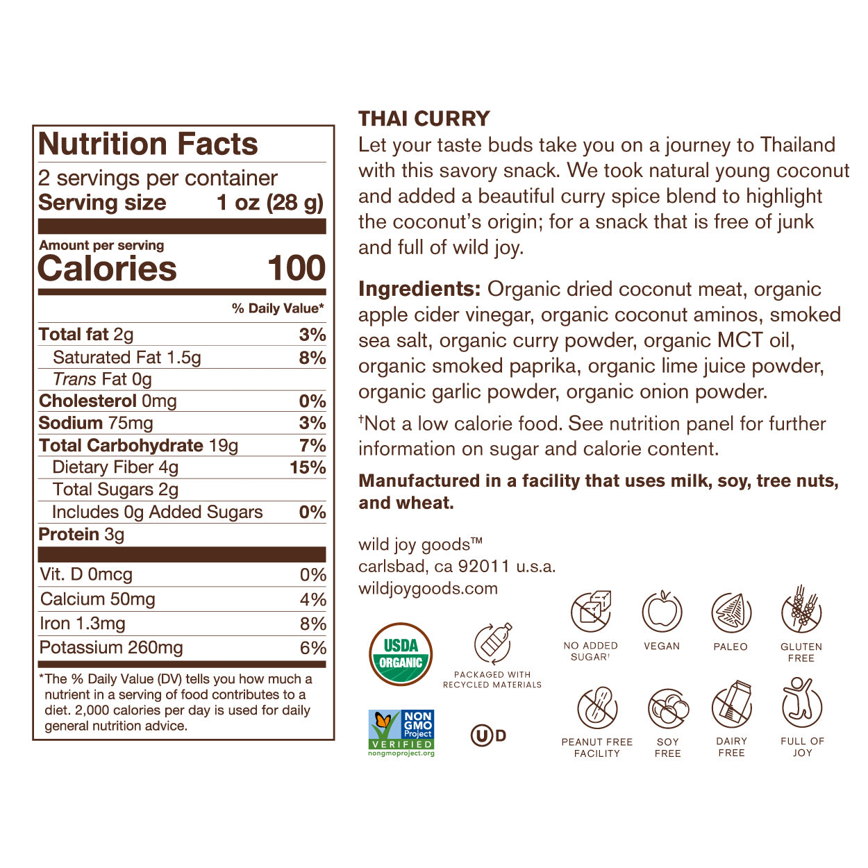 Coconut Jerky Thai Curry Nutrition Facts