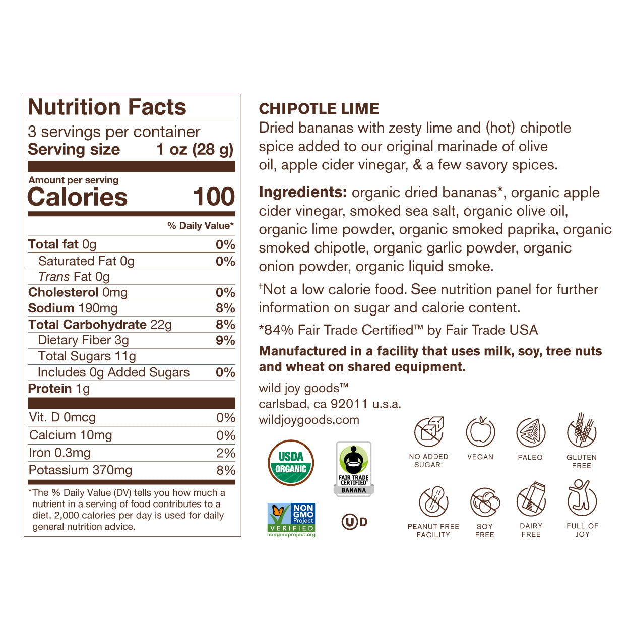 Chipotle Lime Banana Jerky Nutrition Facts