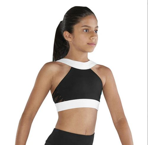 Bloch High Neck Colour Block Girls Crop Top