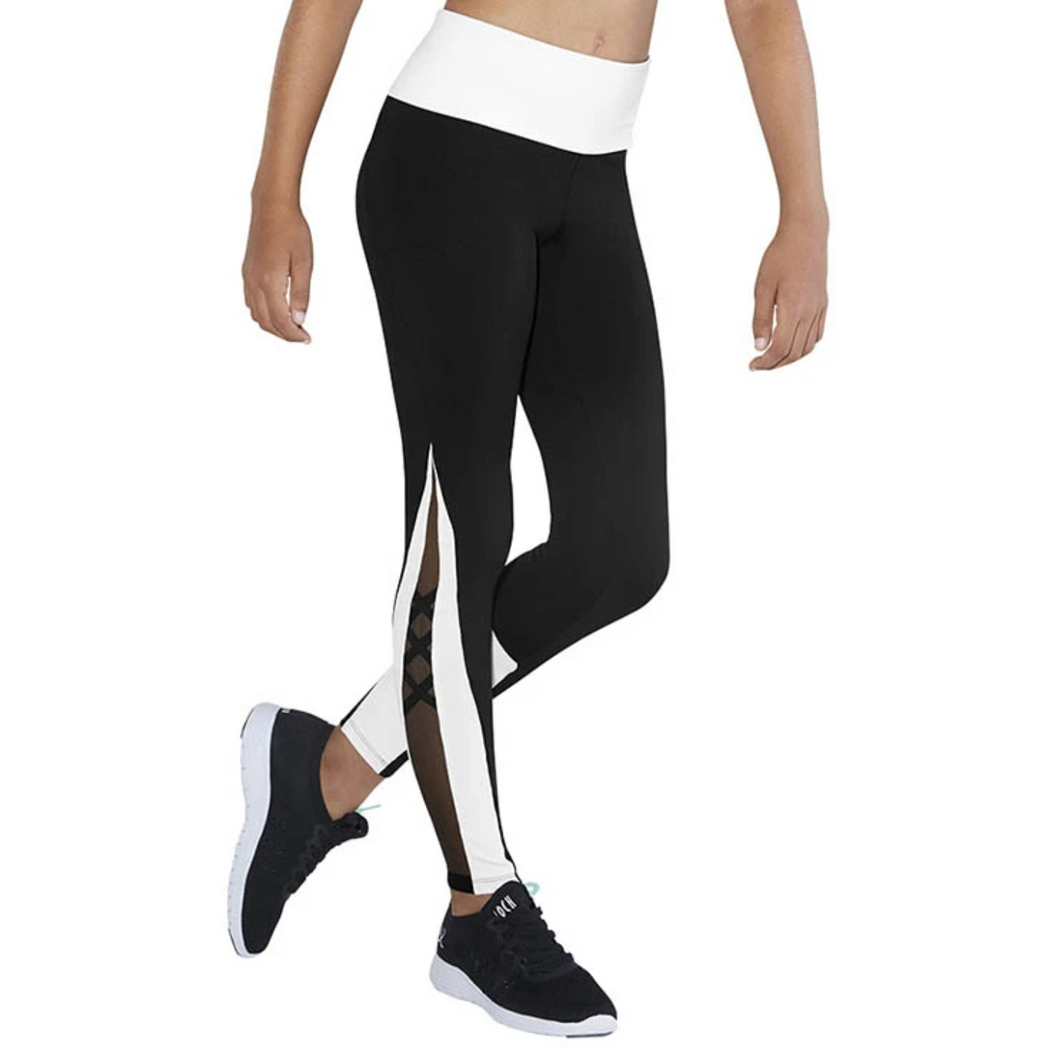 Bloch Contrast X Mesh Panel Girls Full Length Legging