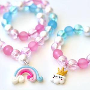 Sweet As Sugar 'Pink/Blue Rainbow' Beaded Necklace