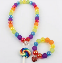 Load image into Gallery viewer, Sweet As Sugar 'Rainbow Lollipop' Beaded Necklace