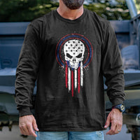 Load image into Gallery viewer, Skull Holding Flag Permit Long Sleeve