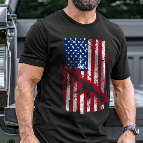 Flag with Rifle T-Shirt