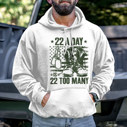 Load image into Gallery viewer, 22 A Day is 22 Too Many Hoodie