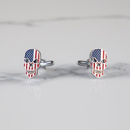 Load image into Gallery viewer, USA Skull Cufflinks