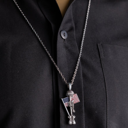 Load image into Gallery viewer, Fallen Soldier USA Memorial Necklace