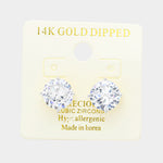 10 MM Cubic Zirconia Round Stud Earrings