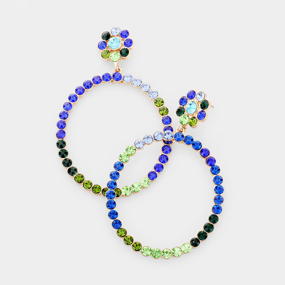 Feeling The Blues Jeweled Hoop Earrings