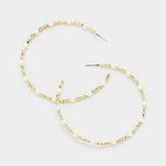Cube Pearl Accented Hoop Earrings
