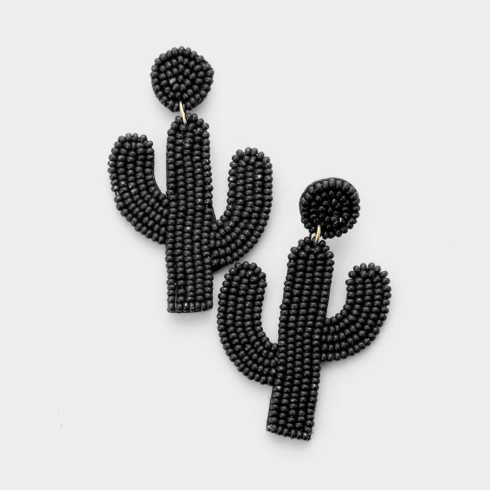 Black Cactus Statement Earrings