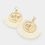 White & Gold Large Fan Earrings