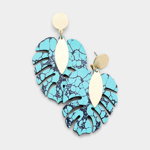 Turquoise & Gold Wooden Leaf Statement Earrings