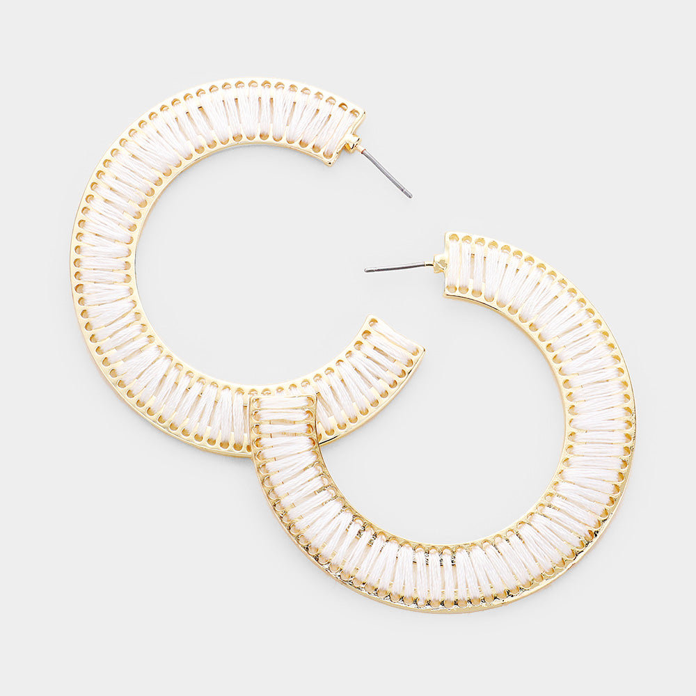 Half Hoop Gold White Earrings