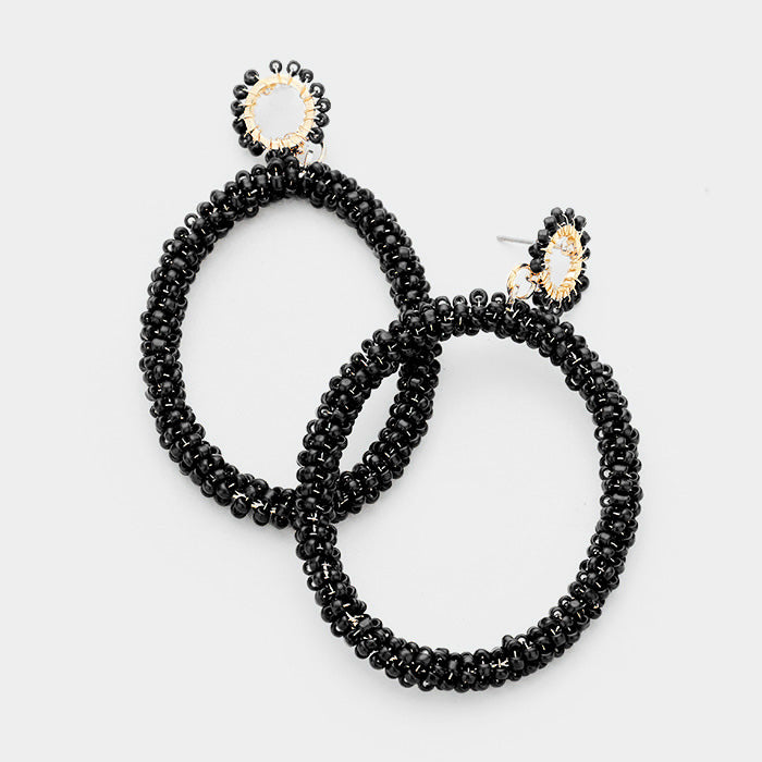 Large Black Beaded Hoops