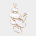 White Layered Statement Earrings