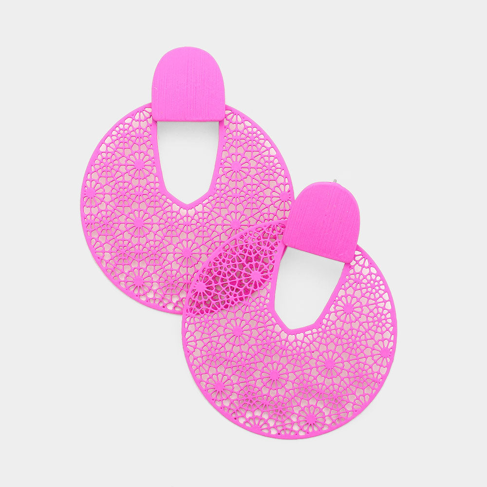 Hot Pink Lightweight Statement Earrings