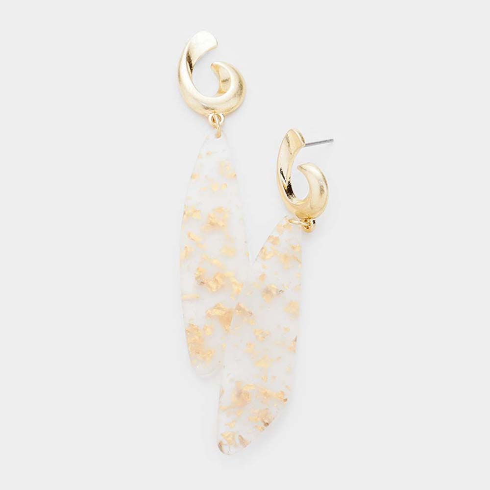 The Emma Clear & Speckled Gold Drop Earrings