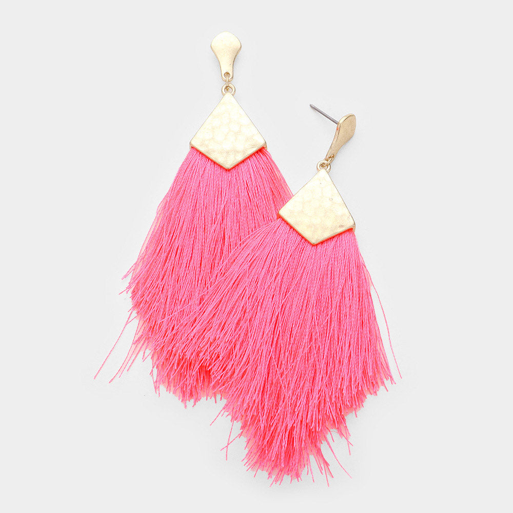 Neon Pink Tassel Statement Earrings