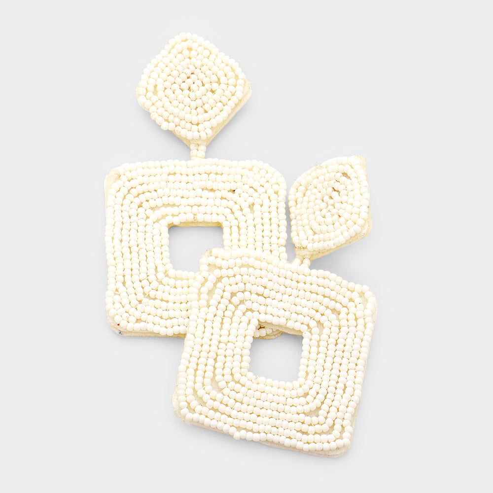 White Beaded Double Square Statement Earrings