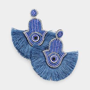 Big Blue Perfection Tassel Earrings